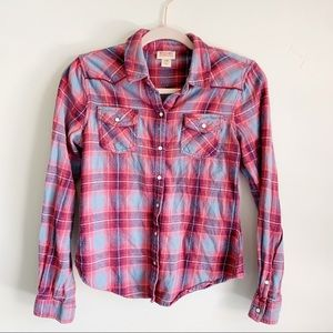 Mossimo Pink Purple Plaid Flannel Long Sleeve Top